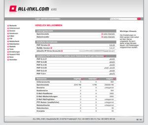 Übersicht des All-Inkl Webhosting Backend