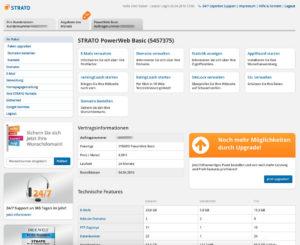 Übersicht des Strato Webhosting Backend